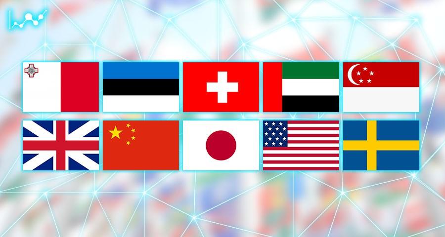 لیست کشورهای با بستر بلاک چین