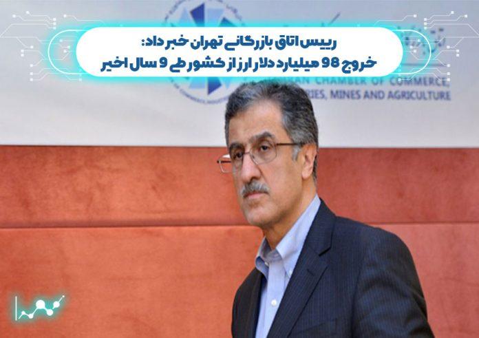 رییس اتاق بازرگانی تهران خبر داد: خروج 98 میلیارد دلار ارز از کشور طی 9 سال اخیر