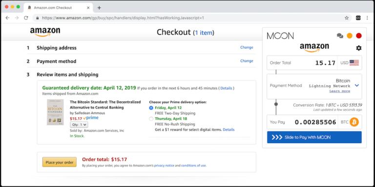 امکان خرید از آمازون با بیت کوین توسط استارتاپ Moon