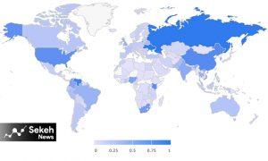 نقشه استفاده از بیت کوین در کشورهای جهان