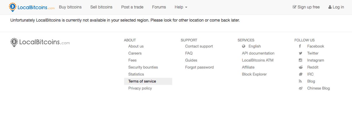 اعمال محدودیت صرافی LocalBitcoins برای کاربران ایرانی